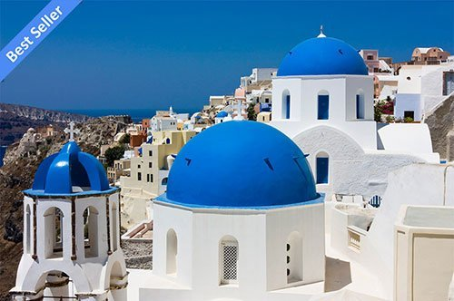 blue domed church santorini